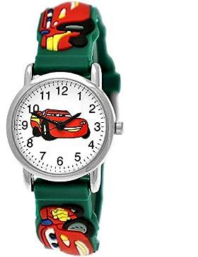 [Gesponsert]Pure Time Autos Cars Kinder-Uhr Jungen-Uhr Mädchen-Uhr Auto Kinder Silikon Armband Hellblau Blau Rot Schwarz Grün...