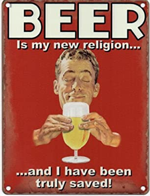 Beer is my new religion and I have been truly saved Metal Sign Nostalgic Vintage Retro Advertising Enamel Wall Plaque 200mm x 150mm - cheap UK light store.