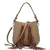Mode Quaste UmhäNgetasche Vintage Handtaschen Rivet Messenger Bags Khaki