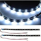 TRIXES Bandes Lumineuses à 15 LED SMD de Jour pour Intérieur Extérieur de Voitures x 2