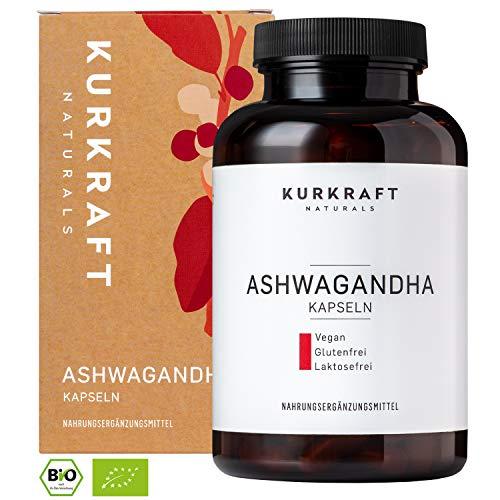 Kurkraft Premium Bio Ashwagandha (180 Kapseln) - 600mg je Kapsel (1800mg je Tagesportion) - Vegan - Einführungspreis - ohne Zusatzstoffe - Sorgfältig hergestellt in Deutschland -
