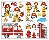 plot4u 20-teiliges Feuerwehr im Einsatz Wandtattoo Set Kinderzimmer Babyzimmer in 5 Größen (2x16x26cm Mehrfarbig)
