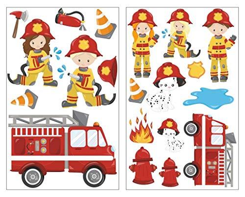 feuerwehr wandsticker plot4u 20-teiliges Feuerwehr im Einsatz Wandtattoo Set Kinderzimmer Babyzimmer in 5 Größen (2x16x26cm Mehrfarbig)