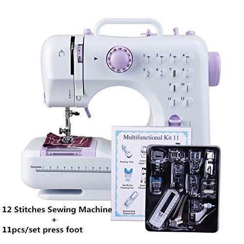 (Dewel Nähmaschine 12 Nähprogrammen mit LED- Nählicht Haushaltsgeräte Stichprogramme für Anfänger, regelbarer Nähgeschwindigkeit mit 11 Stück umfangreichem Zubehör)