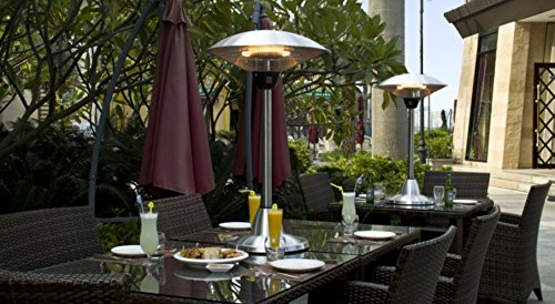 Treat yourself to the Firefly 2.1kW Electric Table Top Outdoor Patio Heater that features a quality halogen heating element. Known for long service life and effective heat dispersion the halogen heating element provides 5000hrs of running time before requiring replacement. In the meantime, you can enjoy the warmth and light provided.