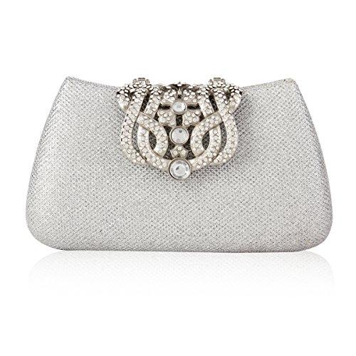 Damara Damen Schimmert Klein Handtasche,Schwarz Silber