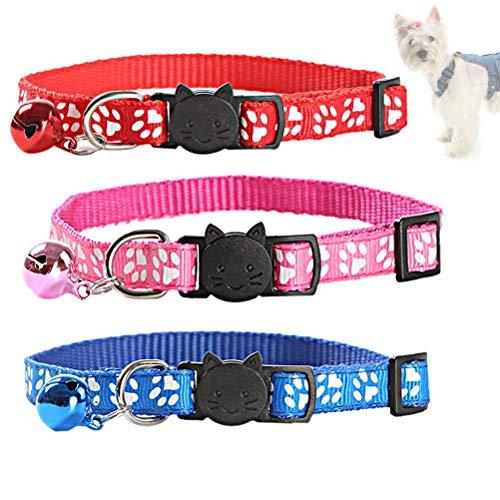 Haokey 3 Stücke Halsband Katze Reflektierend, Katzenhalsband mit Glocke und Sicherheitsschnalle Verstellbar Elastisches Katzenhalsband für Katzen oder kleine Hunde(Rot, Blau, Rosa)