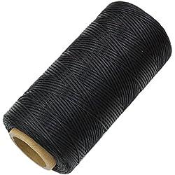 260m 1mm 150D Hilo de Cera Cuero Coser Zapatos Equipaje Arte Reparación Costura DIY (Negro)