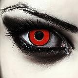Designlenses Lenti a Contatto Colorate Rosse Demone con Anello Nero per Halloween, morbide, Non corrette Modello: Red Demon