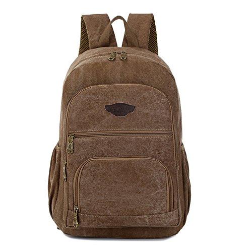 Borsa Di Tela Uomini Zaino Studente Di Moda Bag Sacca Per Il Tempo Libero Di 14 Pollici Di Borsa Per Computer Bag Sacca Sportiva,Kaki Brown