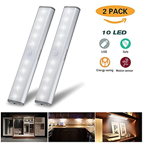 Cabinet light,Wireless Motion Sensor Under Closet Light Bar,USB Rechargeable 10-LED Wardrobe Night Light with Stick-On Magnetic Strip Anywhere for Cabinet/Wardrobe/Cupboard/under stairs/Drawer (White Light-Silver,2