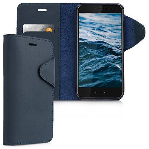 kalibri-Hlle-fr-HTC-U11-Echtleder-Wallet-Case-Schutzhlle-mit-Fach-und-Stnder-in-Dunkelblau