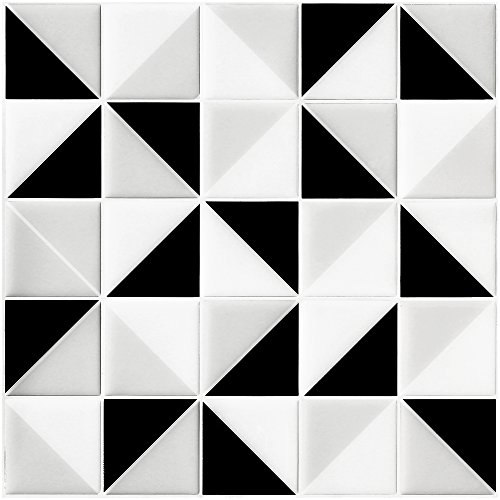 "Ecoart Wall Tile Stickers Peel and Stick Self-Adhesive Wall Tile with Mosaic Triangle Effect for Kitcheh Bathroom Backsplash Black Grey White 10"" X 10"" Pack of 6 (3D,Heat Resistant,Waterproof)"