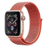 ANBEY für Apple Watch Armband 38mm 40mm 42mm 44mm, Geeignet für iWatch Apple Watch Serie 4, Serie 3, Serie 2, Serie 1, Nylon Sportschlaufenband Ersatzarmband Reddish orange 42/44mm