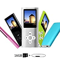 Btopllc MP3 Player, MP4 Player, Music Player, Portable 1.7 inch LCD MP3 / MP4 Player, Media Player 16GB Card, Mini USB Port USB Cable, Hi-Fi MP3 Music Player, Voice Recorder Media Player - Silver