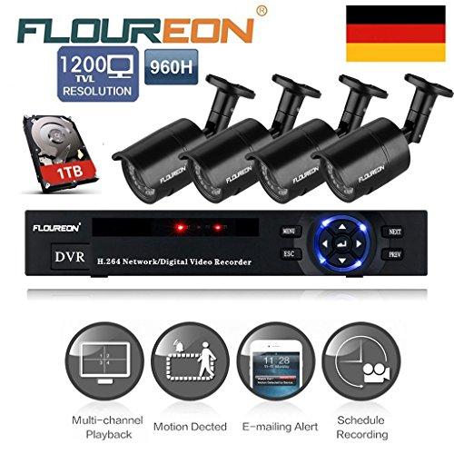 Floureon - Kit de 4 Camaras de Vigilancia Seguridad (H.264 CCTV DVR P2P 8CH Onvif 1080P y 4 Camaras Impermeable, Ir-cut, Visión Nocturna, 1T Disco Duro HDMI), 36 LEDs 1200TVL 1
