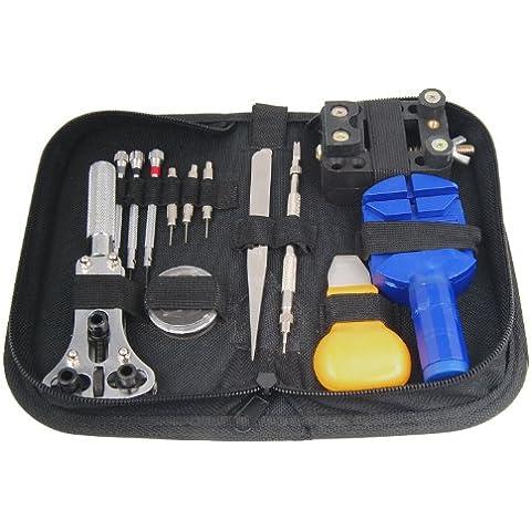 TRIXES Kit di 13 arnesi per la sostituzione della batteria, la regolazione del cinturino e la riparazione di orologi