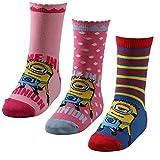3 Paar Minions Kinder Motiv Socken in tollen leuchtenden Farben, Größe:31-34, Farbe:mehrfarbig für Mädchen