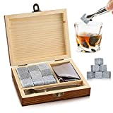 Whisky Stones Gift Set of 9 Whisky Rocks Natural Soapstone and Granite Chilling