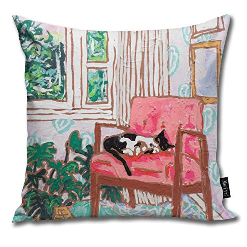 Little Naps Tuxedo Cat Napping In A Pink Mid Century Chair by The Window Pillowcase Home Life Cotton Cushion Case 18 x 18 inches - Tuxedo Pink