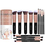 Set de brochas de maquillaje NEWFIAR, Conjunto de 14 brochas profesionales, Brochas para sombra de ojos y rostro, Preciosa caja, Regalo ideal, Instrucciones en español, Color oro rosa