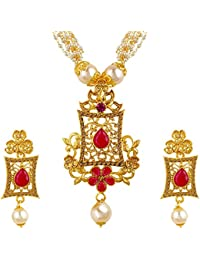 Spargz Traditional Gold Plated Small Pearl With AD Stone Pendant Mala Long Necklace With Earring For Women AINS...