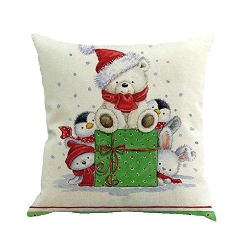 Cuscino di Christmas, Longra Pupazzo di neve di Natale di stampa di lino federa (multicolore_F)
