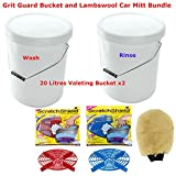Lambswool Car Mitt With Grit Guard Bucket Two Valeting Bucket Wash and Rinse System Bundle