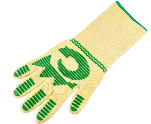 G & F 1683 Large 13-Inch X-Long DuPont Nomex and Kevlar Heat Resistant/Cuff Oven/BBQ Gloves - Green - Slip Value Pack