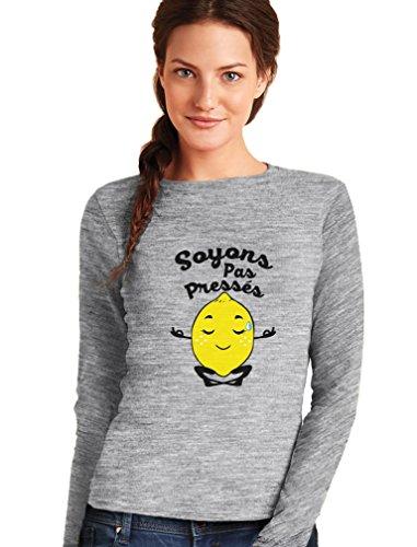 Green Turtle T-Shirts Soyons Pas Pressés - Citron Zen T-Shirt Manches Longues Femme Gris Chiné