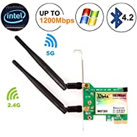 Ubit AC 1200Mbps Bluetooth WiFi Card,Wireless WiFi PCIe Network Adapter Card 5GHz/2.4GHz Dual Band PCI Express Network Card with Bluetooth 4.2 and 2×Antenna for Desktop/PC Gaming(WIE7265)