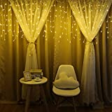Makalon LED Fenster Vorhang Eiszapfen String Licht Hochzeit Hausgarten Schlafzimmer Weihnachtsdekor, Warm White Fairy Light String für Indoor Outdoor Wanddekoration Hochzeit Hausgarten (Gelb)