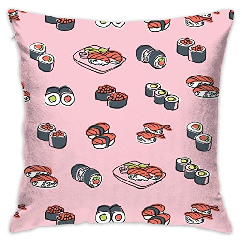 Sushi Yummy Cushion CoveCase Pillow Custom Zippered Square Pillowcase 18x18 (one Side) Pillow sham Covers