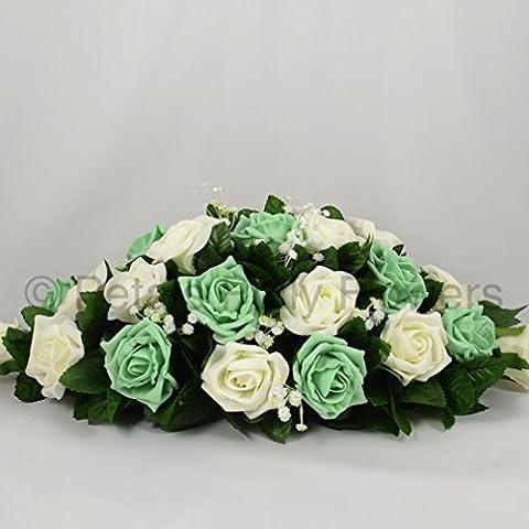 Petals Polly Flowers–Ramillete de boda y seda, Top arreglo de mesa, color crema/marfil/verde menta