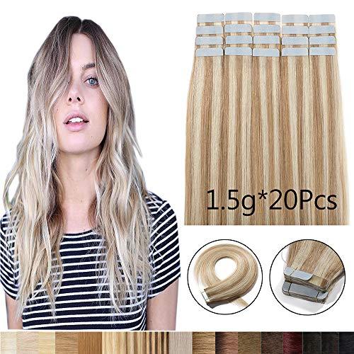 Extension capelli veri biadesivo 20 fasce 100% remy human hair 40cm #18p613 biondo cenere & biondo sbiancante 30g/set