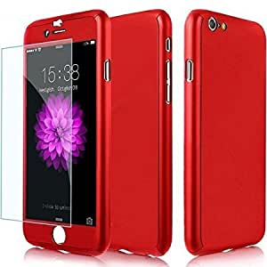 mobbysol™ Protective Slim Fit 360 Hybrid Body Cover Case with Tempered Glass for Apple iPhone(5.5) 6 plus/ 6S plus (Red)