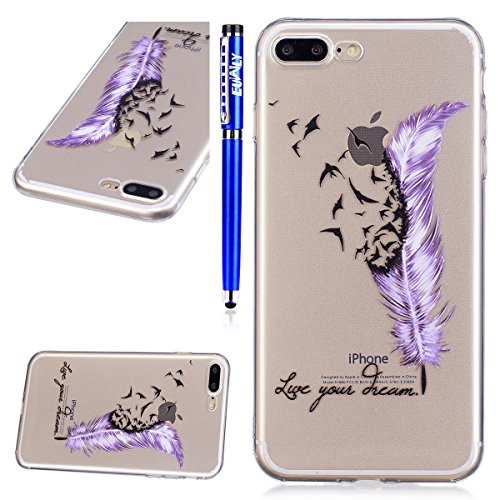 EUWLY Cover per iPhone 7 Plus/iPhone 8 Plus (5.5),Bello Dipinto Immagine Disegno Silicone Custodia per iPhone 7 Plus/iPhone 8 Plus (5.5),Shock-Absorption Bumper e Anti-Scratch Protettiva TPU Soft Si Uccello Piuma Viola