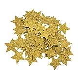 LQZ 200 Stück Glitter Konfetti Sterne Gold aus Papier, 3cm * für Geburtstag, Hochzeit, Karneval Party