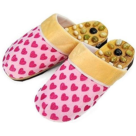 ZHLONG Ladies Home massaggio pantofole naturale ghiaia massaggio punti di agopuntura alla fine della cura della salute , pink , 39 - Grande Punto Di Sonno Cozy