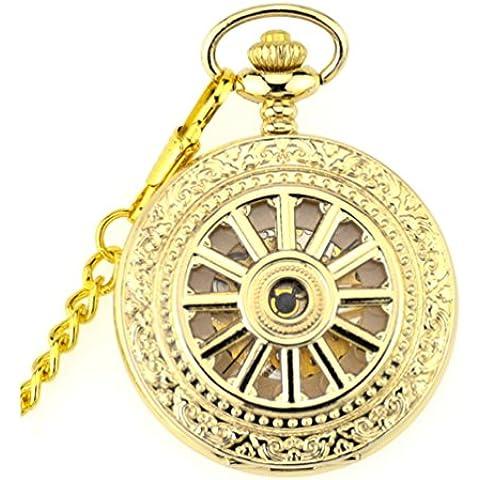 ANNA&JOE Cucchiaio di retr¨° flip stencil macchine grande ruota d'argento orologio da tasca collana orologio da tasca d'oro delle signore