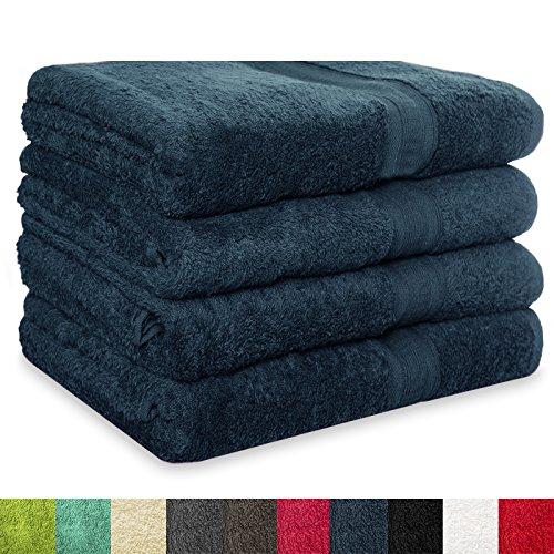 4 tlg. Set Badehandtücher MAGIC SOFT | 100x150 cm | OEKO-TEX Standard 100 | Premium-Qualität | große Handtücher / Badetücher für Damen, Herren und Kinder (dunkelblau / blau)