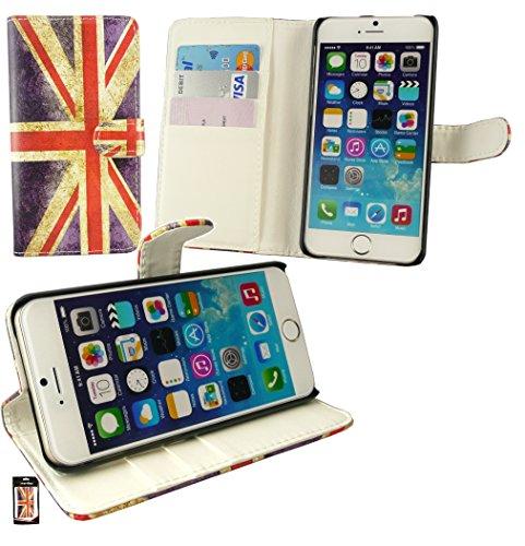 """Emartbuy® Apple Iphone 6s Plus 5.5"""" Zoll Brieftaschen Wallet Etui Hülle Case Cover aus PU Leder Polka Dots Rot Weiß mit Kreditkartenfächern Brieftasche bei Union Jack"""