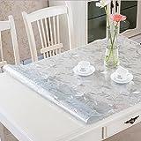 RAIN QUEEN Imperméable imprimé Nappe Film PVC 1mm Epais Cristal Anti-Tache protège Table Meuble pour Cuisine Restaurant