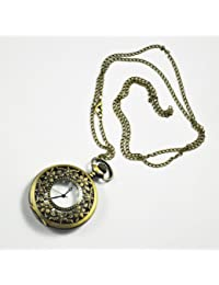 """SODIAL(R) Vintage Style Antique Pocket Watch With 31"""" Chain In Antique Bronze Gold Finish"""
