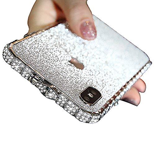 iPhone 8 Plus Glitzer Hülle, Kristall Bling Handyhülle Glitter Strass Funkeln Rhinestone Halter Diamant TPU Bumper Case Cover für iPhone XS Max, iPhone X,Silver,iPhone6/6s (Plus Iphone6 Bling Cover)