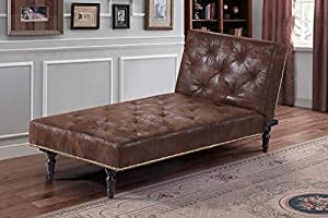 New Victorian Antique Style Charles Brown Faux Leather Suede Fold Down Bed Chaise Longue by Sleep Design from SLEEP DESIGN