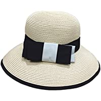 Gespout Casual Bow Hat Collapsible Outdoor Travel Sun Hat Summer England Elegant Dome Hat size 56-58CM (Beige)