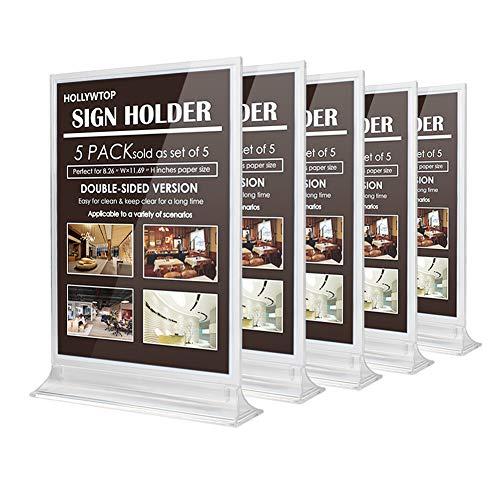 Hollywtop espositore da tavolo a4, espositore da banco, verticale e bifacciale presentazione per pubblicità, poster, menu, foto, negozi, 21×29.7cm-5 pezzi