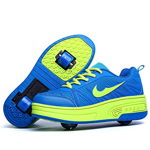 Homesave Unisex-Kinder Skateboard Schuhe Kinderschuhe mit Rollen Skate Shoes Rollen Schuhe Sportschuhe Laufschuhe Sneakers mit Rollen Kinder Jungen Mädchen,BlueDouble,37EU -