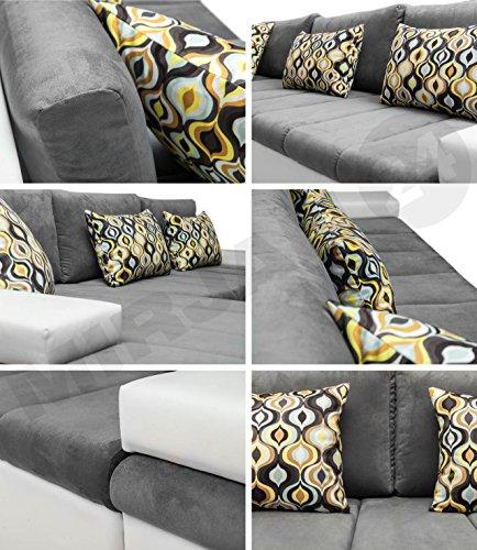 Design Ecksofa Bangkok, Moderne Eckcouch mit Schlaffunktion und Bettkasten, Ecksofa für Wohnzimmer, Gästezimmer, Couch L-Form, Wohnlandschaft, (Ecksofa Links, Soft 029 + Majorka 03) - 4